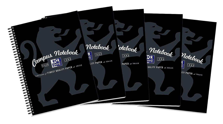 Oxford Campus Notebook - Paquete de 5 cuadernos de anillas A4: Amazon.es: Oficina y papelería