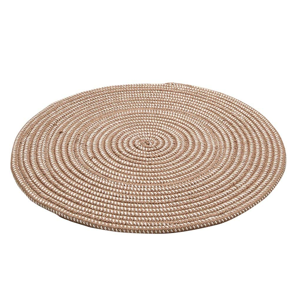 A Diameter 150cm Decoration Area Rug Round Carpet, Rope Series Weave Mat Computer Chair Cushion Hanging Basket Pad Living Room Bedroom Rug(Multi-color) Soft Anti-Slip No Mites Easy to Care Dust & Water Retaining Door