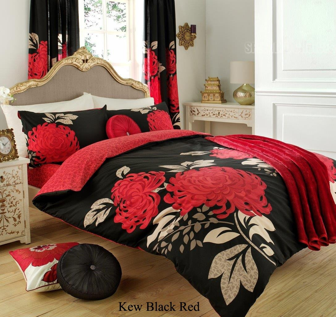 3PC KEW BLACK & RED KING SIZE BEDDING BED DUVET COVER QUILT SET ...