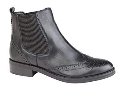 5b2b9d626f1 Ladies Womens New Leather Slip On Smart Chelsea Brogues Ankle Boots Shoes  Size: Amazon.co.uk: Shoes & Bags