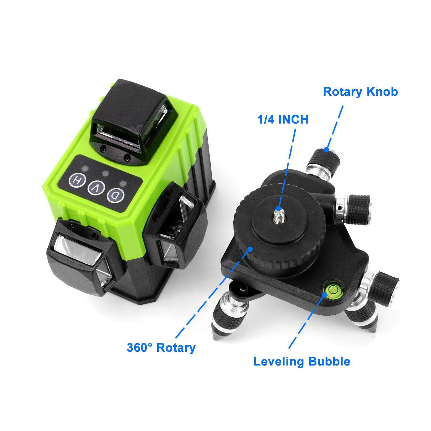 Dingchao Self-Leveling Three-Plane 3 x 360 Green Line Laser Level,with Micro-Adjust / 360 Degree Pivoting Base, Hard Carrying Case,Power Plug Adapter,Multi-functional Laser Leveler Layout Laser Tools by DINGCHAO (Image #6)