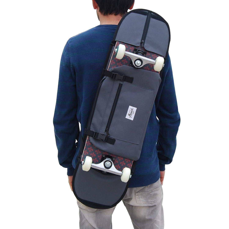 Mochila Porta monopatín y Bandolera Skateboard - Accesorio para Regalar a niño Skater o Adolescente, Color Gris skate-home