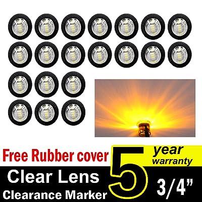 "( Pack of 20 ) TMH 3/4"" Inch Mount Clear Lens Amber LED Clearance Bullet Marker lights, Side LED marker lights for trailer Truck RV Car Bus Van"