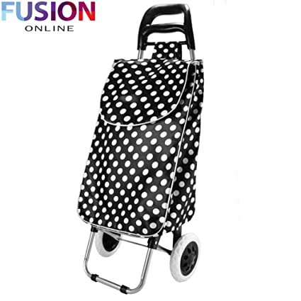 FOLDING SHOPPING TROLLEY WHEELED FUNKY FESTIVAL BAG NEW STRONG WATERPROOF  LIGHT (Black Polka Dots)  Amazon.co.uk  Kitchen   Home 0e1d6373b0