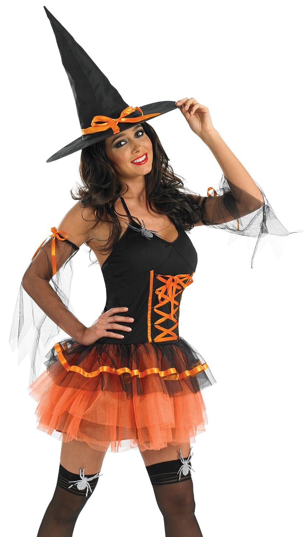 Orange Tutu Witch - Adult Halloween Fancy Dress Costume: Amazon.co ...