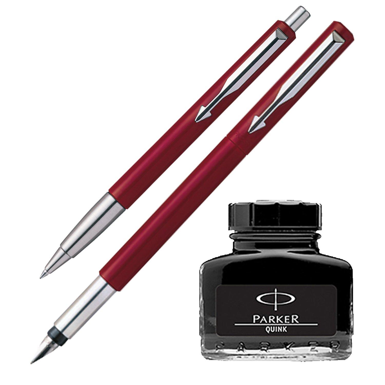 3 NIBS /& 4 Cartridges Red Parker Vector Standard Calligraphy Fountain Pen Set
