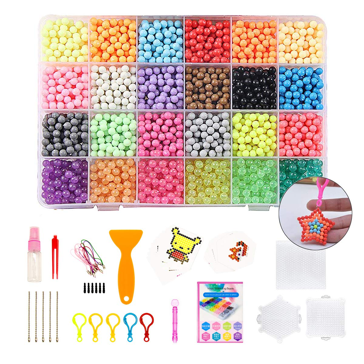 Water Beads for Kids NonToxic, 24 Colors 4000 Pcs Magic Water Fuse Sticky Beads Art Crafts Toys with 48 Patterns Pegboards & Accessories for Kids Beginners