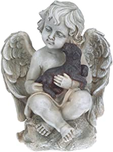 Topadorn Angel Wings with A Little Dog in Arms, Ceramic Statue, Angel Figurine Tabletop Decor Display