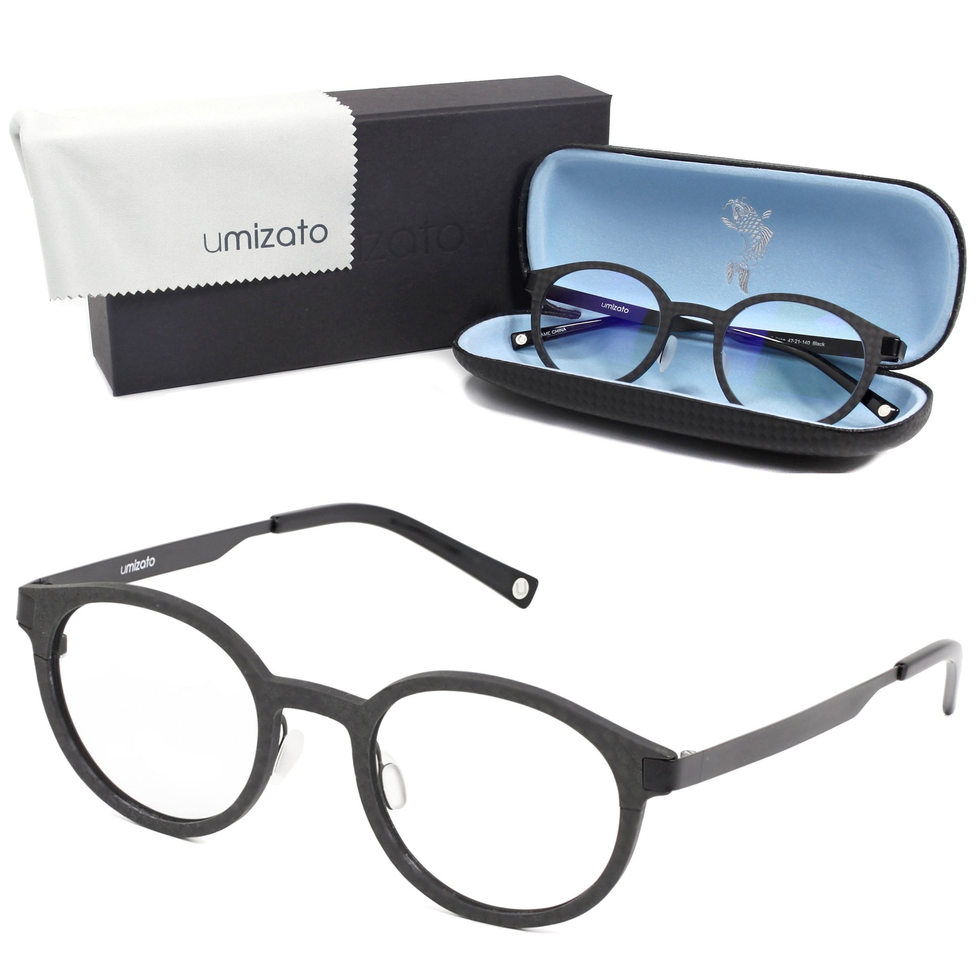 UMIZATO Gaming Computer Glasses Blue Light Blocking for Men Women in Carbon Fiber - Clear Lens - FDA Approved - Relieves Digital Eye Strain, UV Blocker, Anti-Glare, Anti-Fatigue (Eclipse in Black)