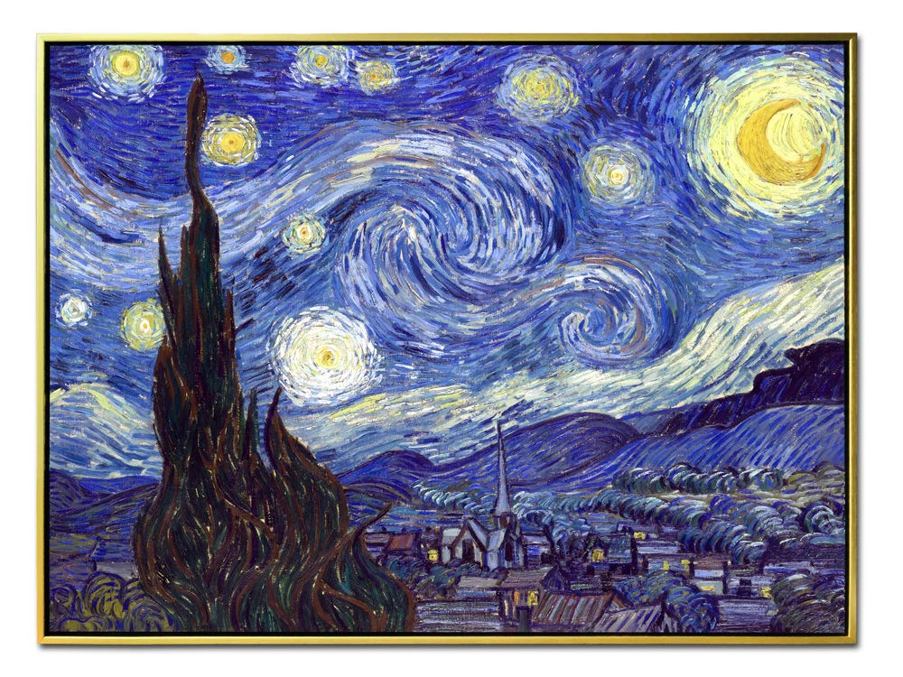 Wieco Art Framed Art Giclee Canvas Prints of Starry Night by Vincent Van Gogh Paintings Reproduction Post-Impressionism Artwork Framed Wall Art for Living Room Home Decorations P1XK-6080-GF