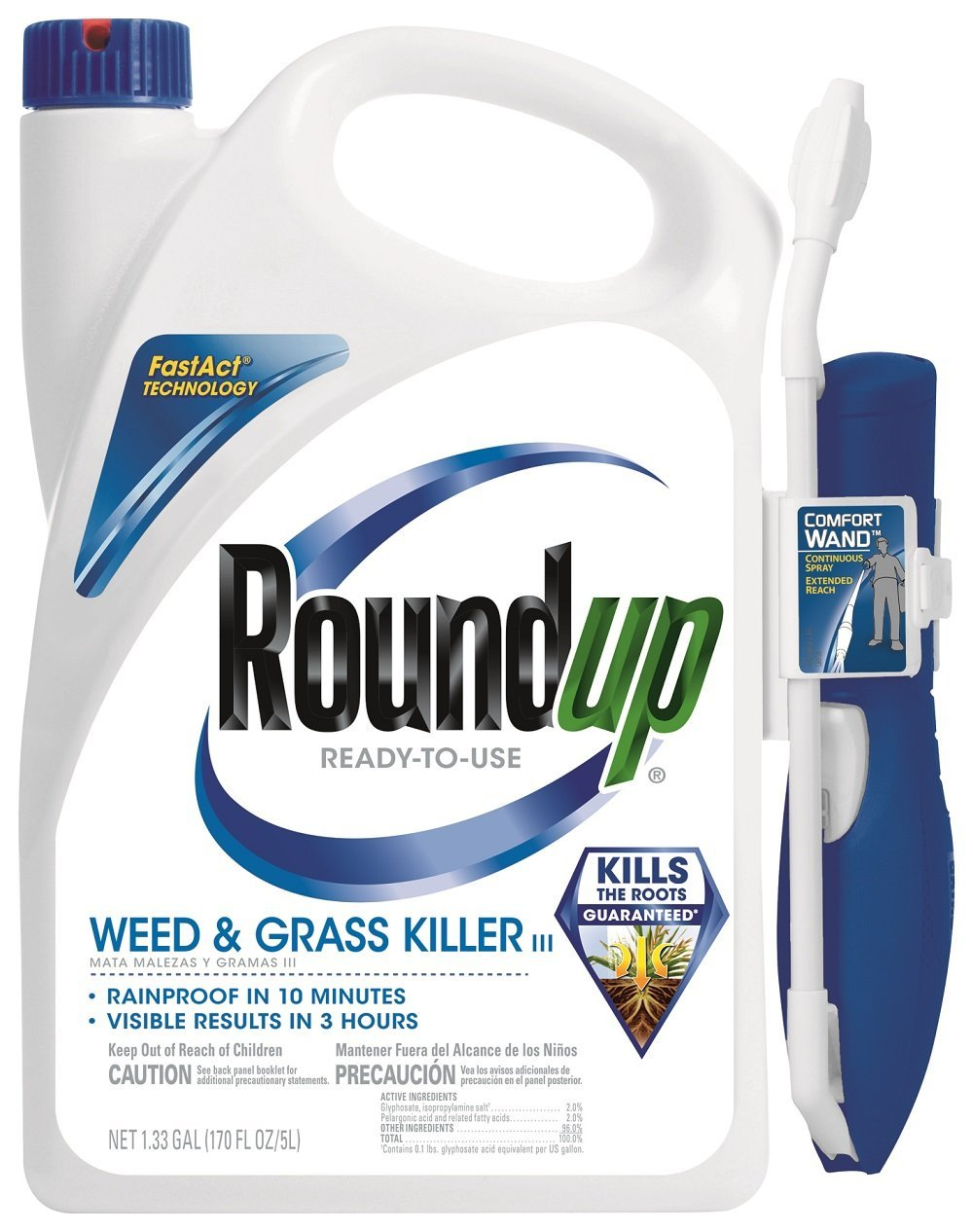 Roundup 5200210 Weed and Grass Killer III Ready-to-Use Comfort Wand Sprayer comes with its comfort wand making it a convenient choice