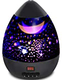Night Light Star Moon Projection Lamp,Star Light Projector 360 Degree Rotating with Timer Auto Shut-Off For Kids Bedroom,4 Led Bulbs With Multiple Colors (Black)