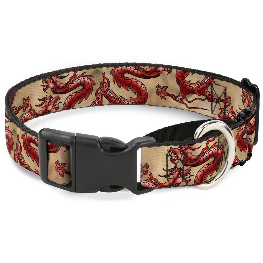 Buckle-Down Dragons Tan Martingale Dog Collar, 1  Wide-Fits 11-17  Neck-Medium
