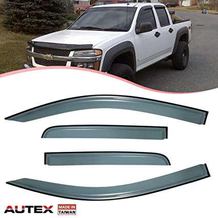 Amazon.com  AUTEX Tape On Window Visor Deflector 4Pcs Fits for 2015 2016  2017 Chevrolet Colorado Crew Cab Sun Rain Guards Deflectors  Automotive a673ae12f8a