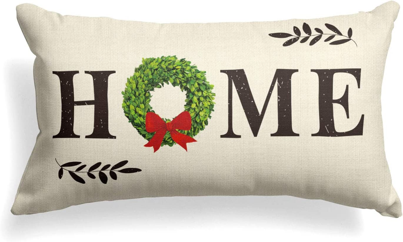 AVOIN Christmas Boxwood Wreath Throw Pillow Cover Home Quote, 12 x 20 Inch Winter Holiday Farmhouse Cushion Case Decoration for Sofa Couch