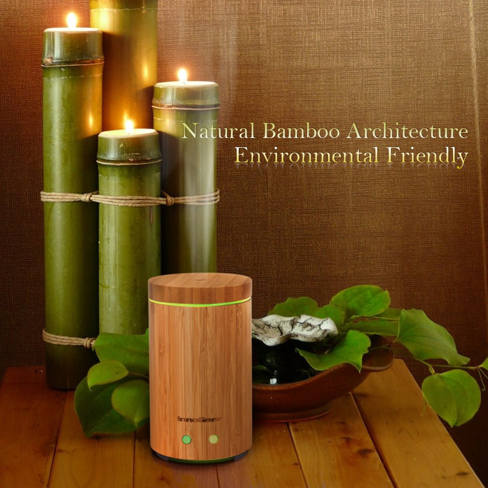 InnoGear Real Bamboo Essential Oil Diffuser with Waterless Auto Shut ... for Natural Oil Lamp Decorations  45hul