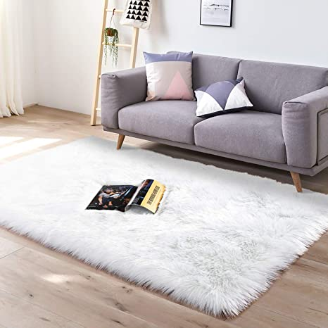 YJ.GWL Super Soft Faux Fur Area Rug (3x5) for Bedroom Sofa Living Room Fluffy Bedside Rugs Home Decor,White&Silvery Rectangle