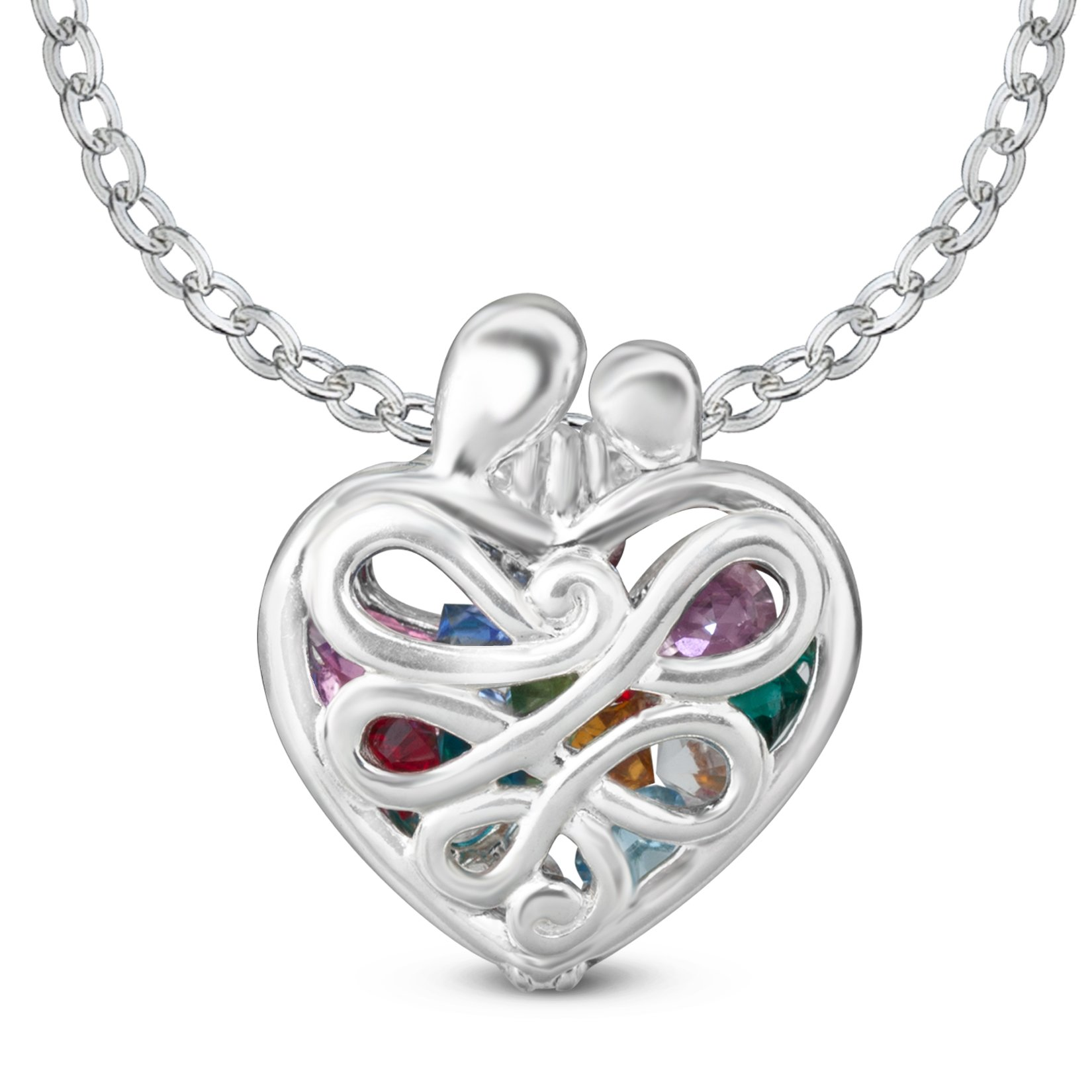 Loving Family Sterling Silver 1-1/4'' Heart - 24'' Chain
