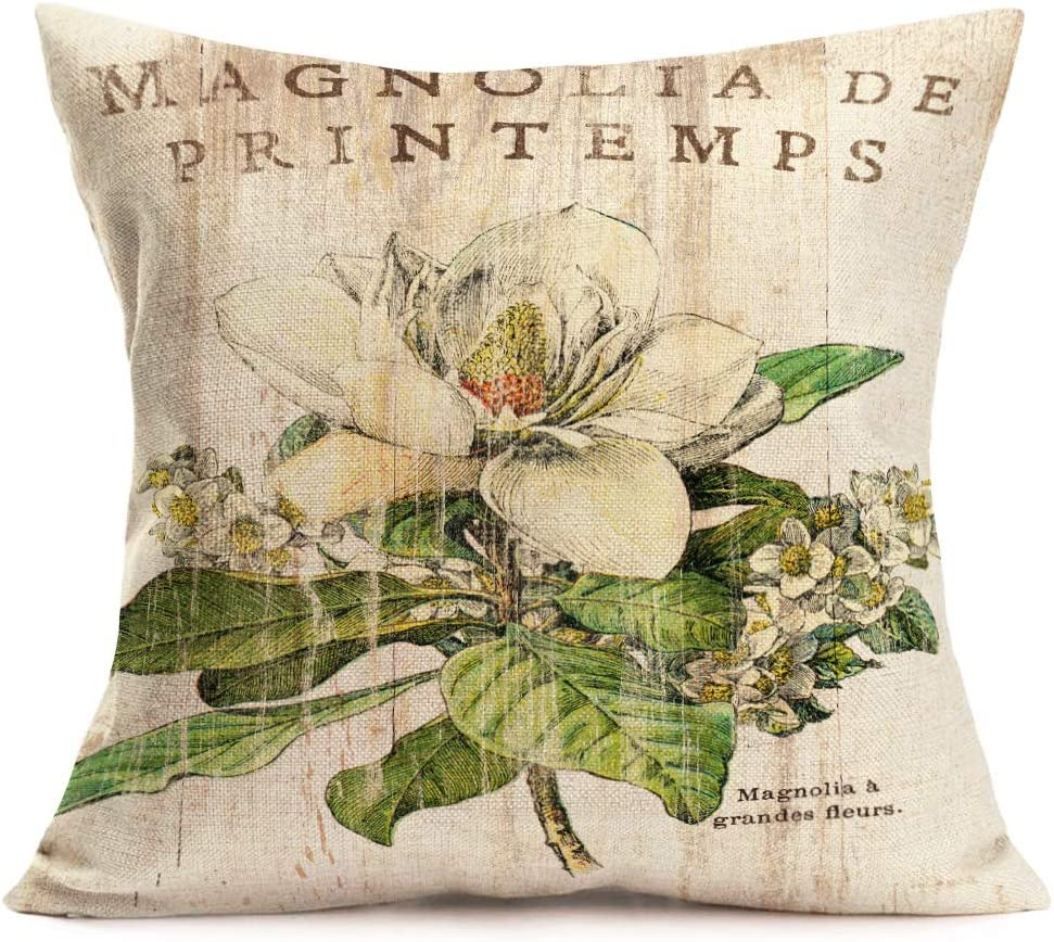 Tlovudori Throw Pillow Covers Vintage Board Flower Print Cotton Linen Retro Magnolia Blossom Leaves Decor Cushion Case Cover with Words Lettering for Couch Sofa 18x18 Inch (Magnolia a Grandee Fleurs)