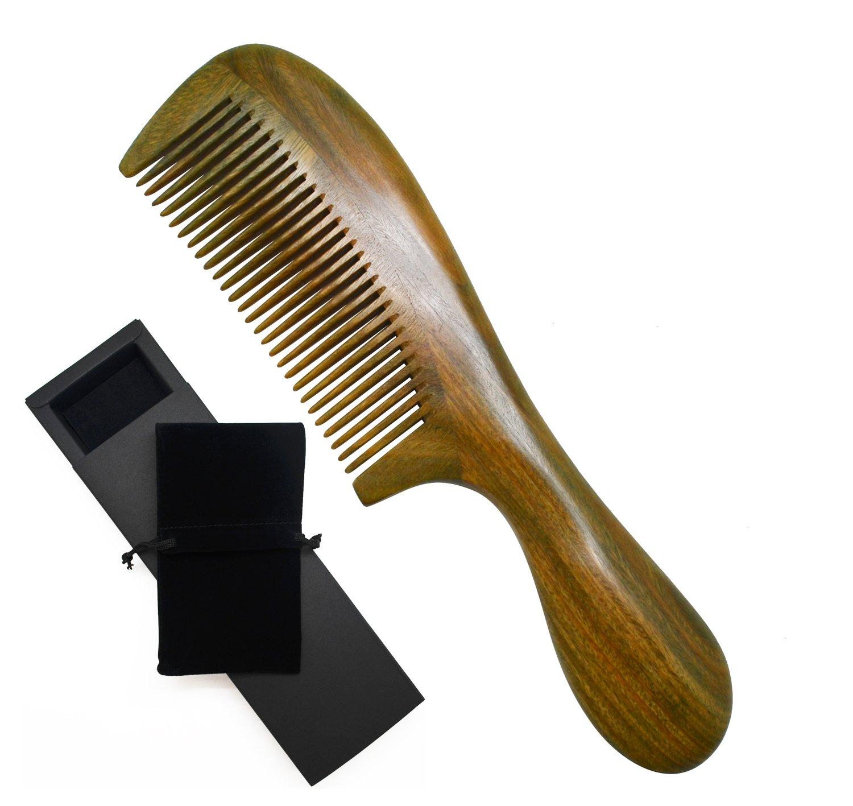 Meta-C verde naturale di legno di sandalo a mano pettine - NO strappi, nessun groviglio, non statico (manico corto - Dente standard) 1
