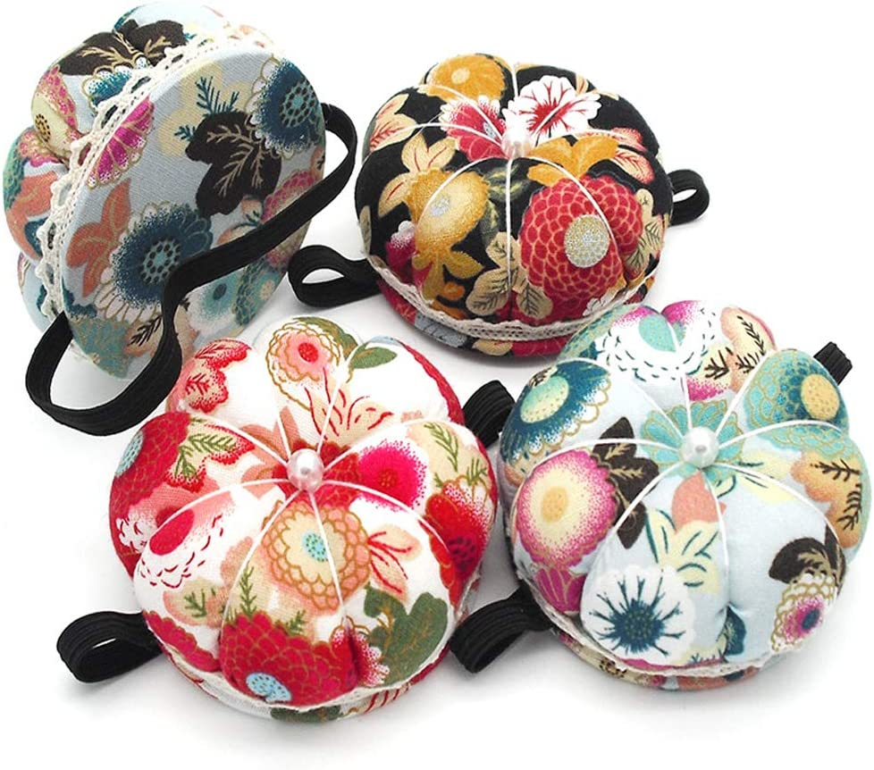 Flower Shape Red Rose Quality Pin Cushion Soft Fabric Elastic Wrist Strap Sewing