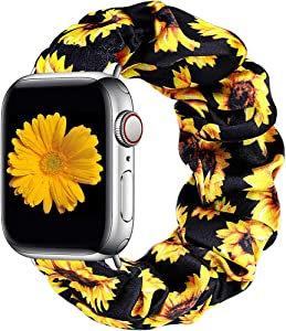 Easuny Compatible with Apple Watch Band 38mm 40mm Soft Scrunchie Floral Elastic iWatch Bands Womens Girls Apple Watch Series 6/5/4/SE/3/2/1, Sunflower S