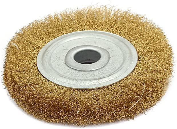 uxcell 100mm Dia Brass Wire Polishing Brush Wheel Buffing Tool Brass Tone a17030200ux0235