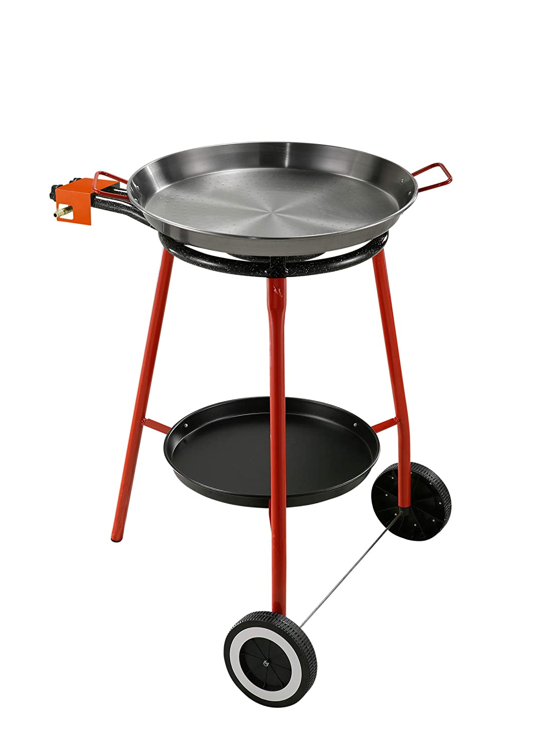 Complete Paella Kit Set for the Kitchen Outdoor, particularly suitable for the preparation of Paella. The Kit Includes: Stove with Power Supply to Gas (LPG) to Two Independent Burners, Support Three Feet, Coated Steel Frying Pan in Ferr Reber