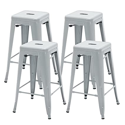 Amazon Com Mecor 26 Inch Metal Barstools Industrial Counter Stool