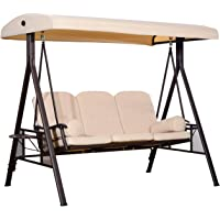 Outsunny Heavy-Duty 3 Seater Covered Outdoor Swing Chair Lounger Hammock with Cushion Tilt Canopy and Pillows Beige