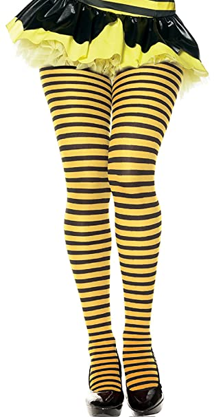 30233a2b954 Image Unavailable. Image not available for. Color  Women s Bumblebee Tights  Me Before You Yellow and Black Striped Pantyhose Tights