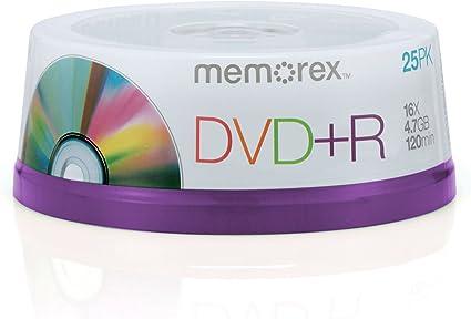 Memorex 16x DVD+R 4.7GB 25 Pack Spindle - DVD+RW vírgenes (4,7 GB, DVD+R, 240 min, Eje): Amazon.es: Informática