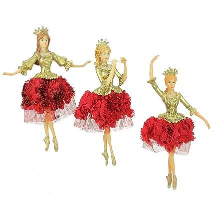 Decorazioni Natalizie Ballerine.Set Da 3 Grande Resina Tessuto Oro Rosso Ballerina Decorazioni