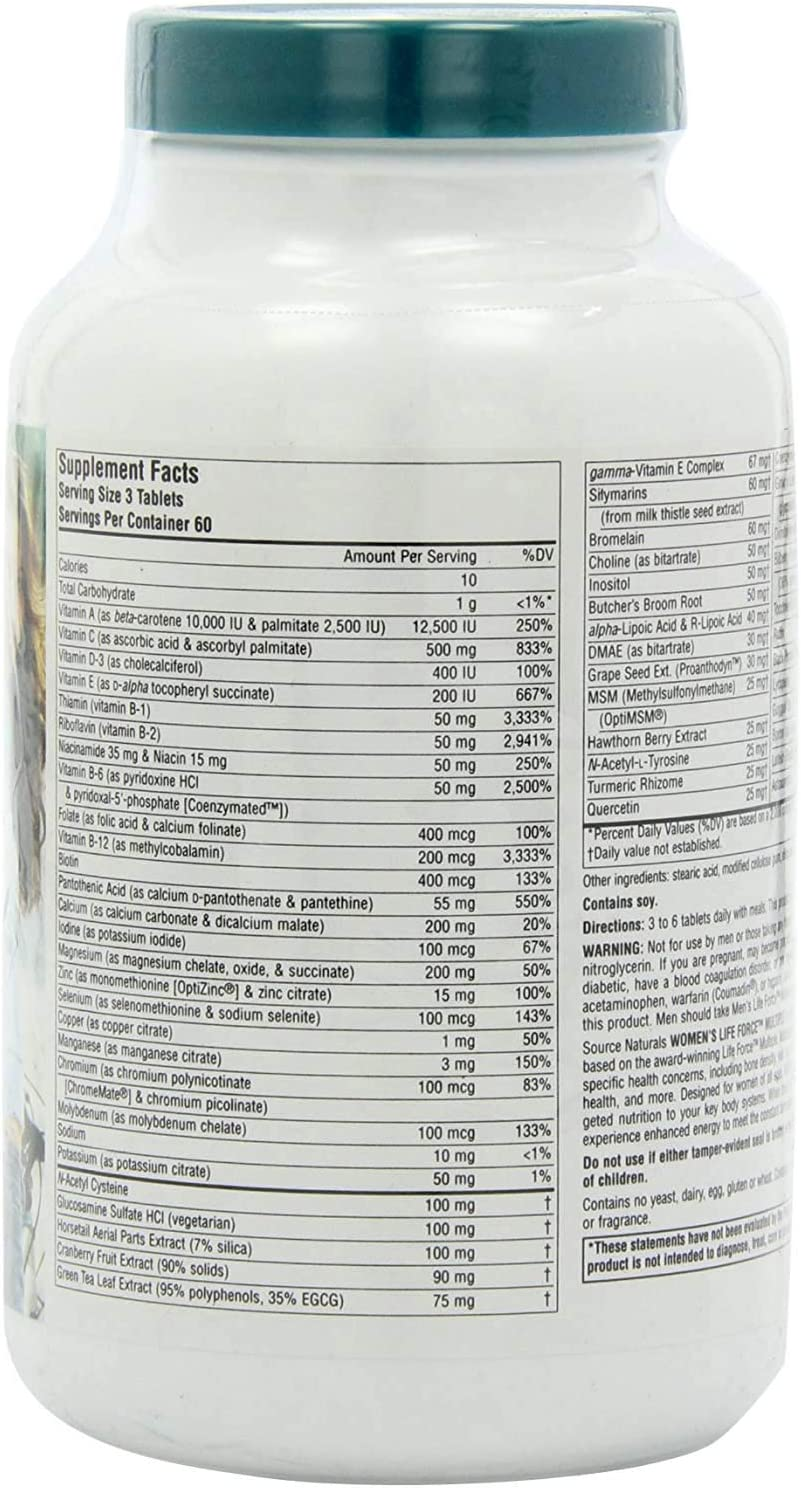 Source Naturals Women s Life Force Multiple Iron Free – Daily Complete Multivitamin 13 Essential Vitamins, Antioxidants, Herbs, Nutrients Minerals – Enhanced Energy Immune Boost – 180 Tablets
