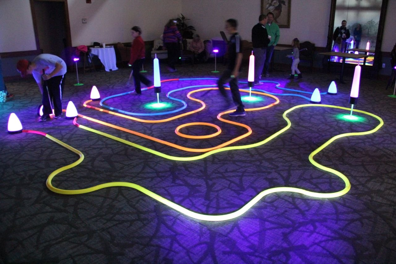 Office Golf - Cosmic Putting Mini Golf Game - Offers Unlimited Course Design Potential - Works on Carpet or Putting Green - Glows in Black Light - Unique, Inspiring Fun (YELLOW)