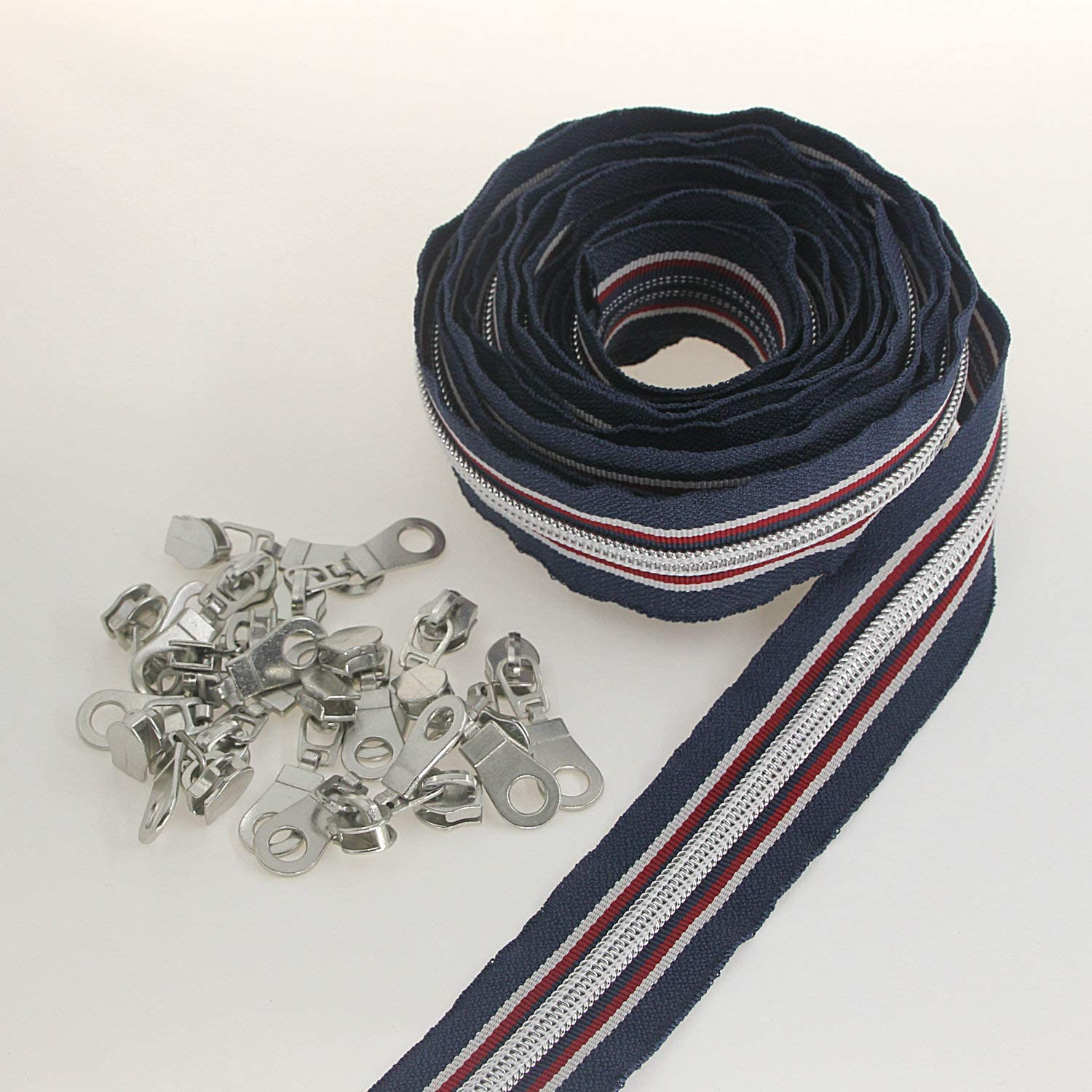 #5 Nylon Zippers for Sewing Silver Teeth Zipper Bulk 10 Yards Black/&Grey/&Blue Colcrs Tape with 25pcs Sliders Coil Zipper for DIY Sewing Tailor Craft Bag,Sports Suits New Style Leekayer