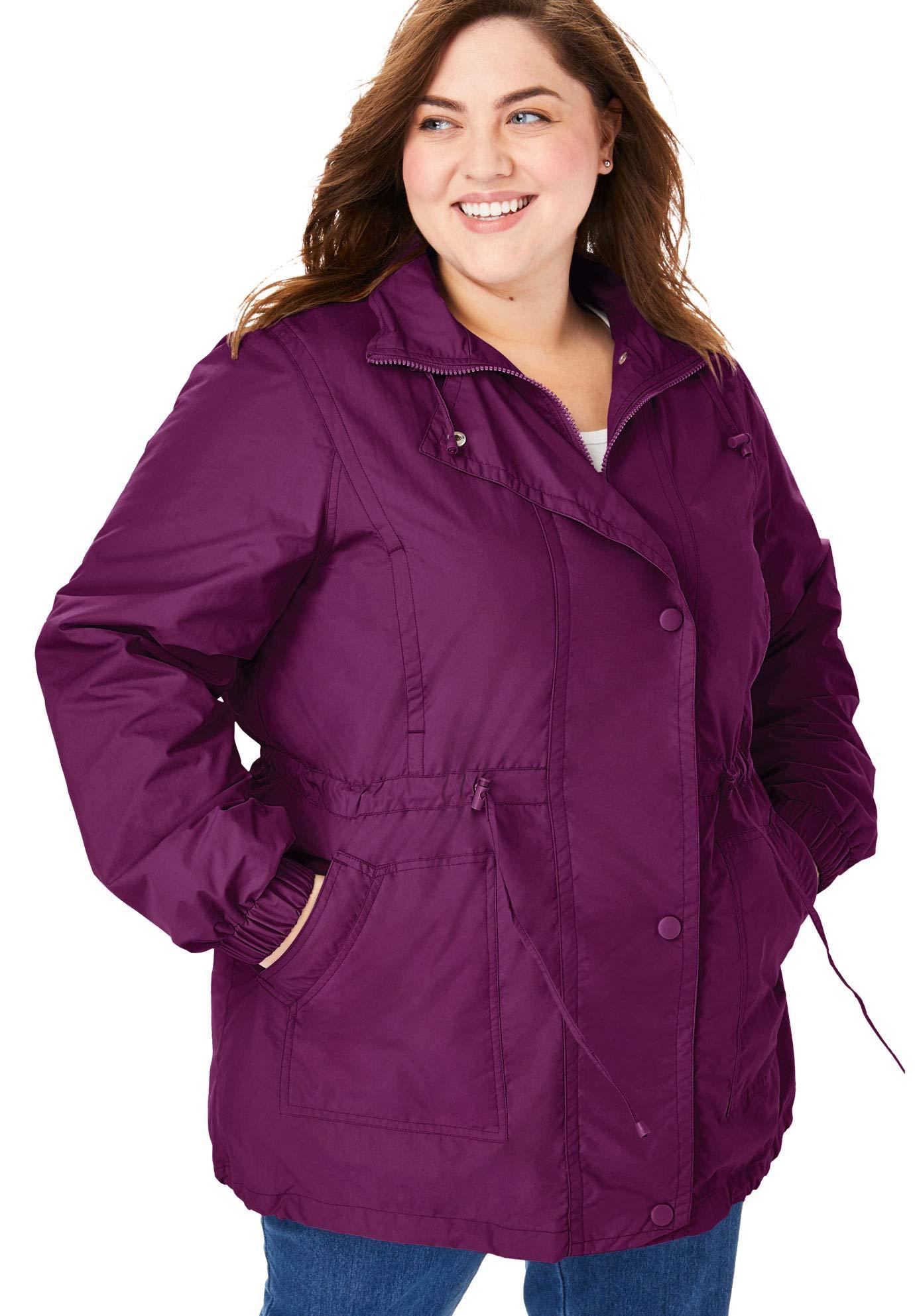 Woman Within Women's Plus Size Fleece-Lined Taslon Anorak - Dark Berry, 3X by Woman Within