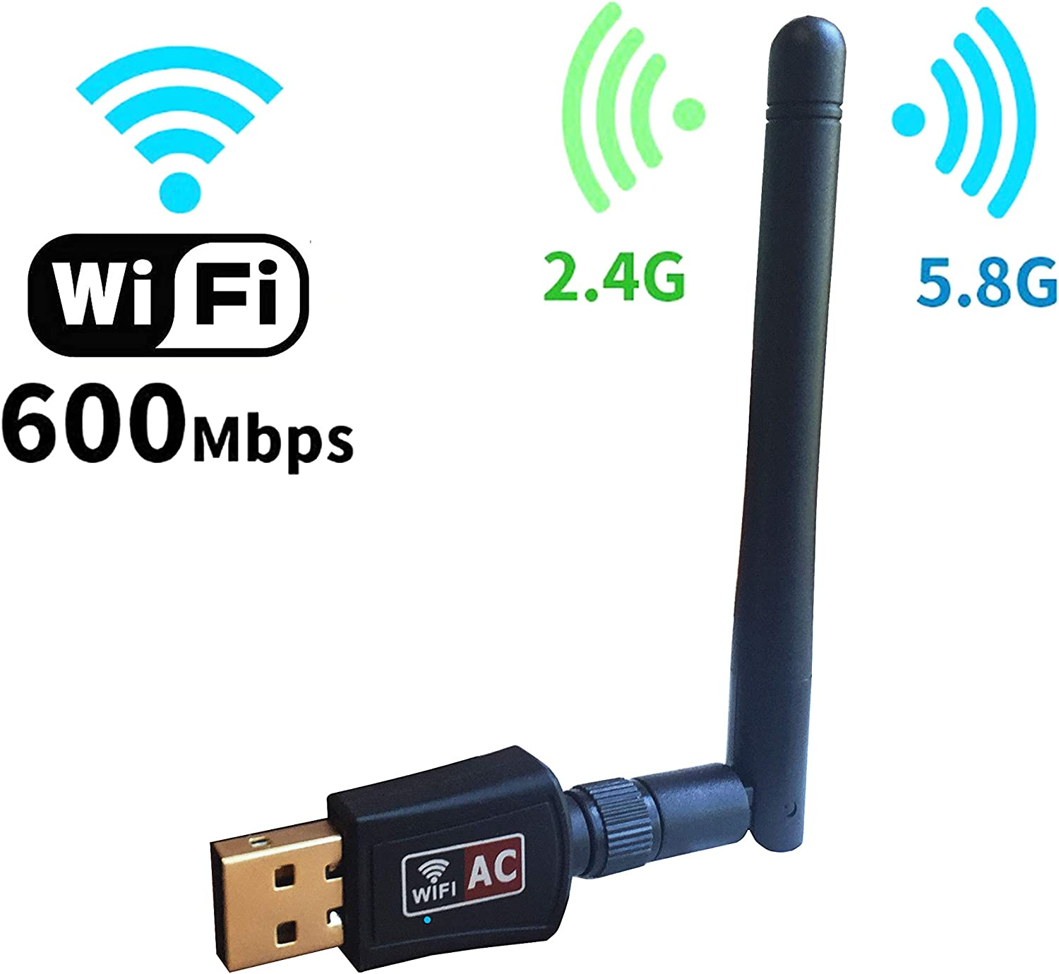 600Mbps Dual Band (2.4Ghz/5.8Ghz) Wireless USB Wifi Adapter for Laptop and Desktop(802.11N/G/B/AC Antenna Network Lan Card for Windows XP/Vista/7/8/10,Mac OS,Linux)