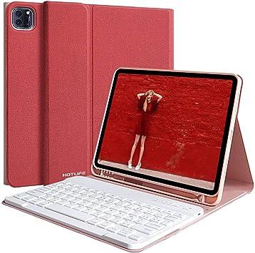 HOTLIFE - Funda con teclado para iPad Pro 11 2020/2018, tablet iPad 2020 2rd Generation con lápiz capacitivo, funda de protección con teclado AZERTY ...