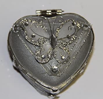 Amazoncom Heart Shaped Glass Jewelry Trinket Box with Butterly