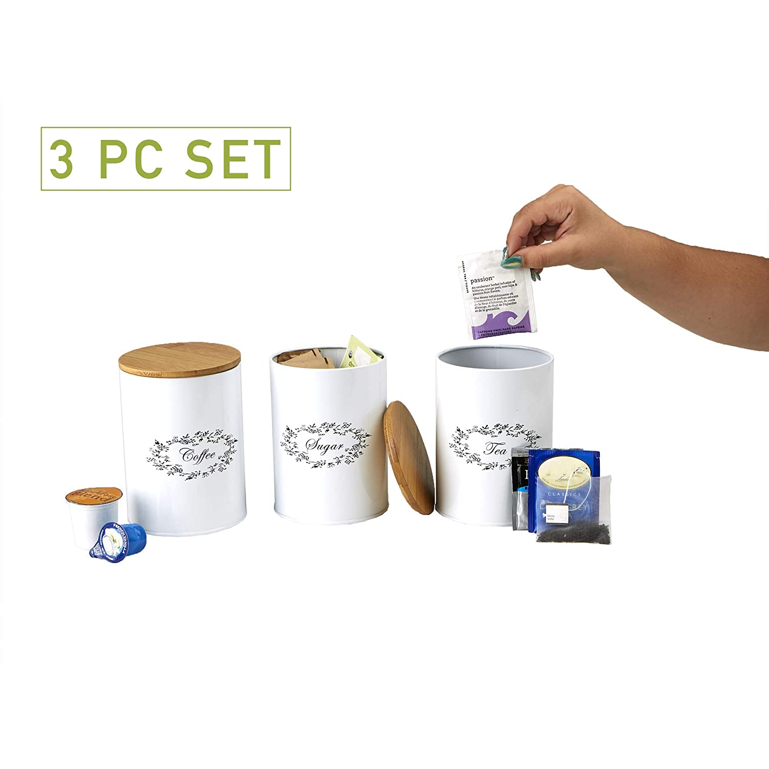 Mind Reader URBCAN3-WHT 3 Piece Sugar, Tea, Coffee Metal Canister Set, White