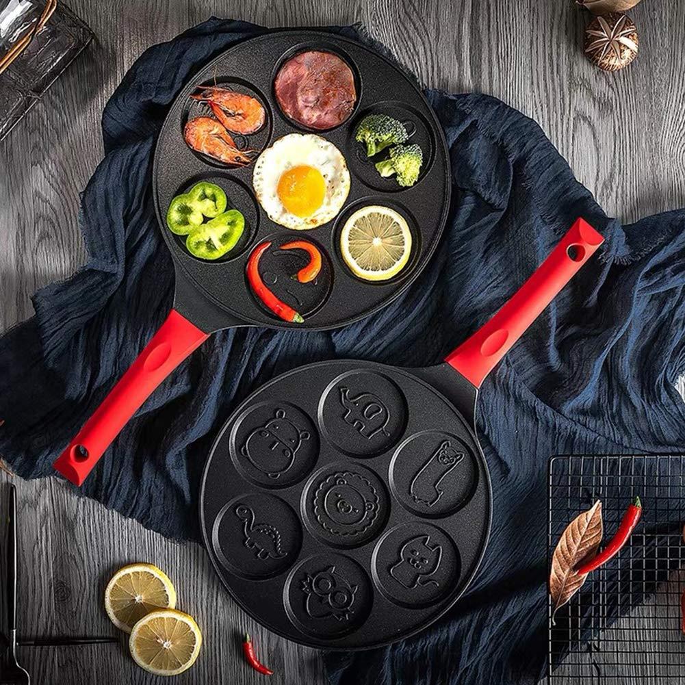 Baking molds,longdelaY6 7-Grid Smiley Face Animal Pancake Pan Emoji Breakfast Aluminum Nonstick Maker - Black Red A by longdelaY6 (Image #4)