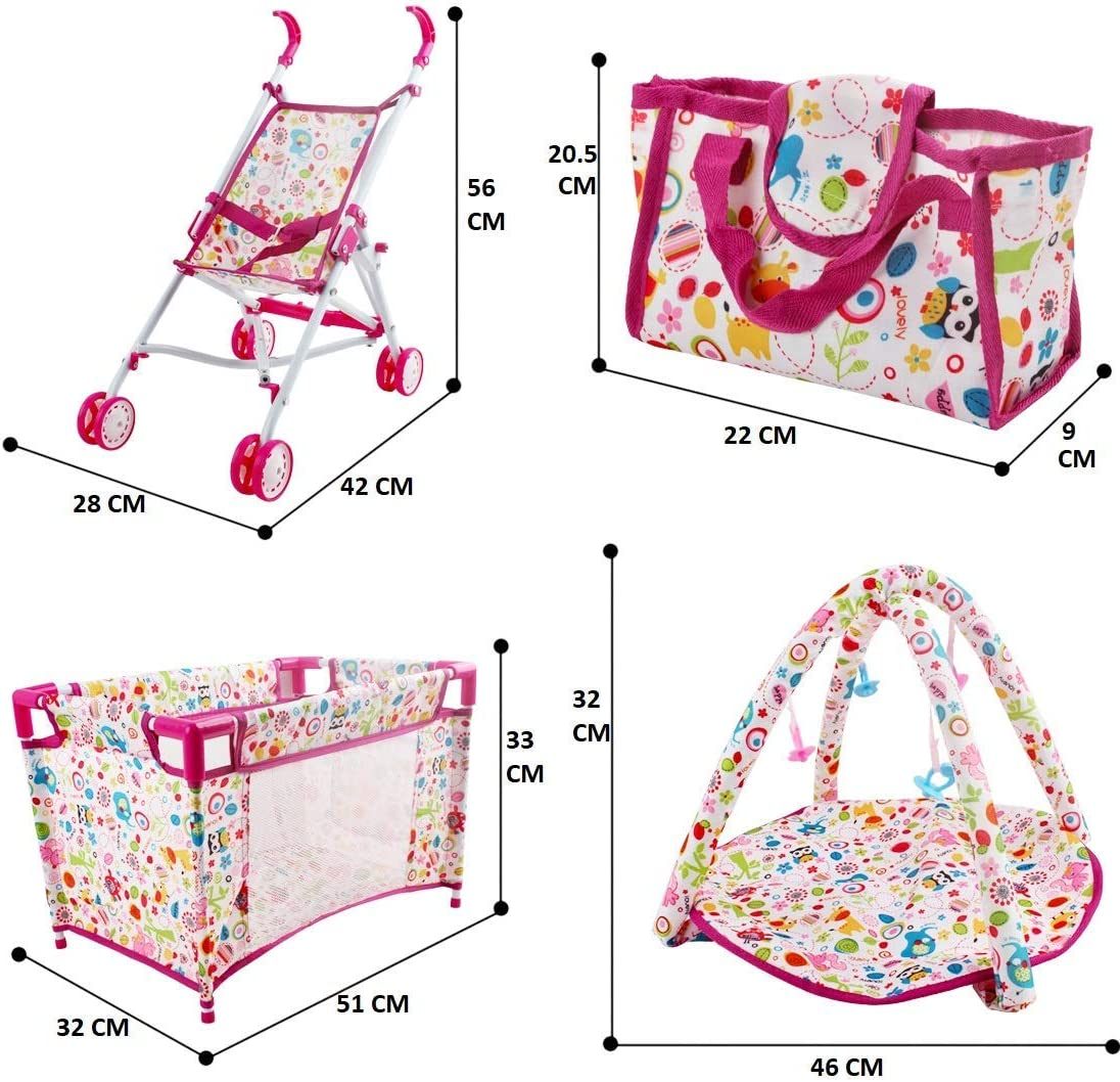 Doll Not Included deAO Kids 5-in-1 Role Play Deluxe Baby Doll Playset with Play Mat Travel Cot Baby Carrier Stroller and Travel Bag