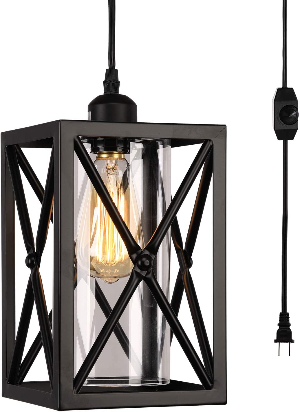 HMVPL Antique Glass Pendent Ceiling Lights with 16.4 Ft Plug in Cord and On Off Dimmer Switch, Updated Industrial Swag Hanging Lamps for Kitchen Island Dining Room or Living Room, Black Finish