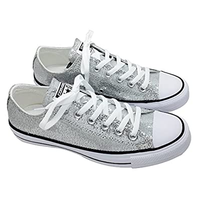 CONVERSE Chuck Taylor All-Star Women's Ox Lo Top Sneakers Silver Glitter  135851C (6