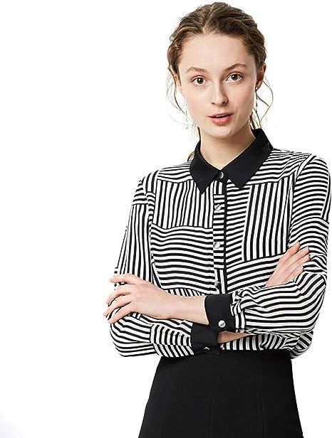 AIBAB Camisa De Seda Camisa Polo Un Solo Pecho Raya Blanca Ropa De Mujer Camisa Profesional Casual Suelta Primavera Y Verano: Amazon.es: Deportes y aire libre