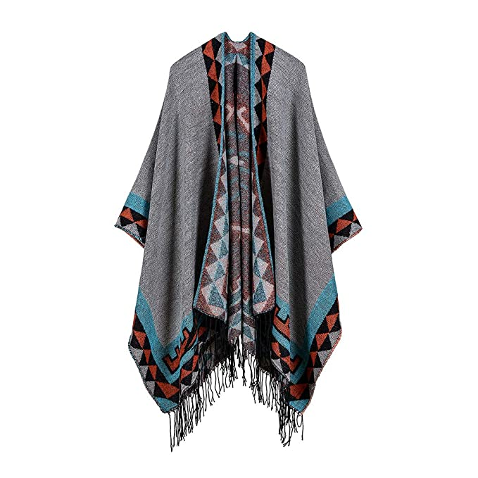 8690c422b Zando Women's Winter Poncho Tassel Cape Color Block Shawl Wrap Open Front  Warp Shawl W100 at Amazon Women's Clothing store: