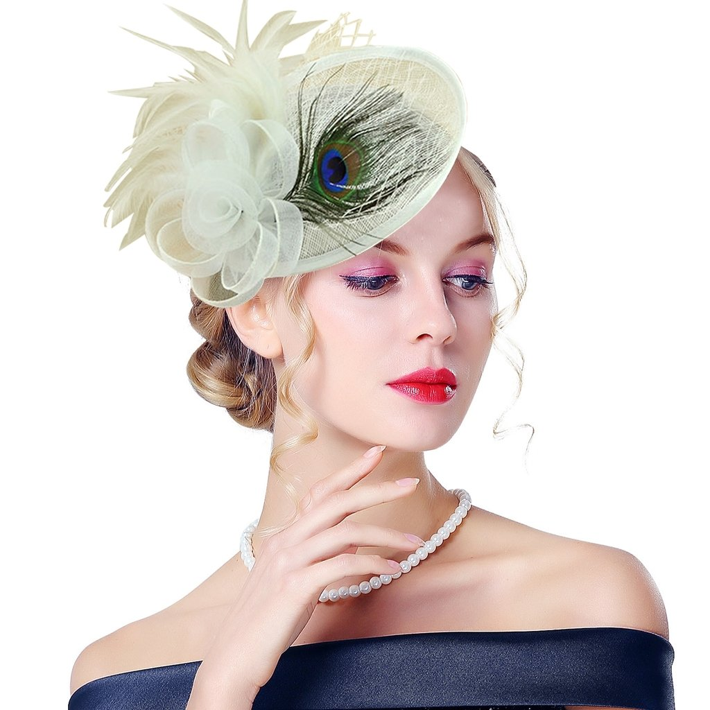Edith qi Lady Retro Peacock Cocktail Fascinators Sinamay Derby Hats for Wedding Party