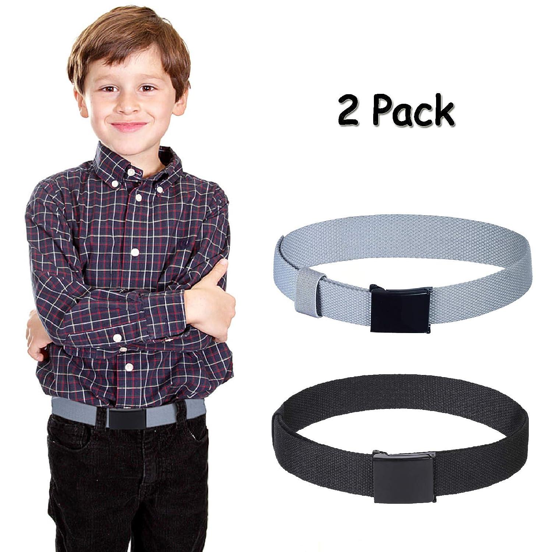2Pack Uniform Belt with Flip Top Buckle for Kids Boys Girls 80CM Boys Mans Canvas Web Belts Cut To Fit Adjustable Belts 2Pcs Black, 31.5