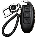 Vococal 3 Buttons Car Remote Control Protector Cover Shell Fob PU Leather Case with Keyring for Nissan Teana X-Trail Livina Sylphy Tiida Geniss